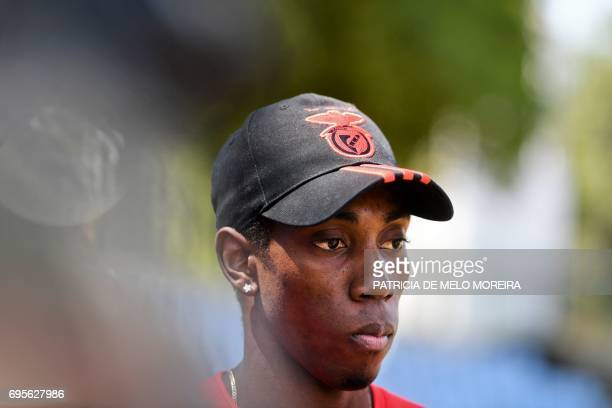 Benfica's Cuban triple jumper Pedro Pichardo talks to journalists during a press conference to announce his return to competition at the '1st of May'...