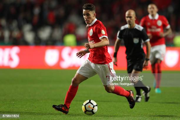 Benfica's defender Alejandro Grimaldo from Spain during the match between SL Benfica and FC Vitoria Setubal for the Portuguese Primeira Liga at...