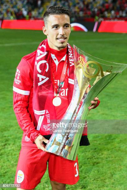 Benfica's defender Alejandro Grimaldo from Spain with Portuguese Super Cup trophy after the match between SL Benfica and VSC Guimaraes at Estadio...
