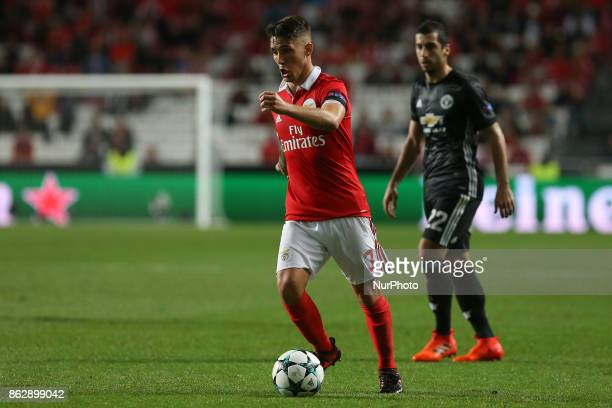 Benficas defender Alex Grimaldo from Spain during the match between SL Benfica v Manchester United FC UEFA Champions League playoff match at Luz...