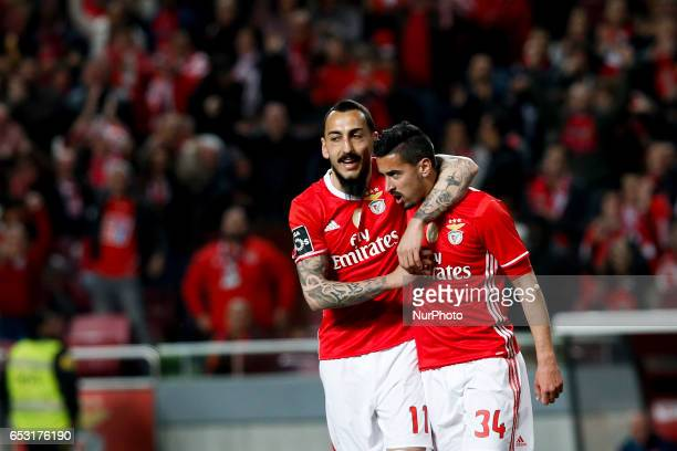 Benfica's defender Andre Almeida celebrates his goal with Benfica's forward Kostas Mitroglou during Premier League 2016/17 match between SL Benfica...