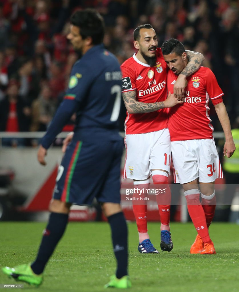 SL Benfica's defender Andre Almeida celebrates with teammate SL Benfica's forward from Greece Kostas Mitroglou after scoring a goal during the Primeira Liga match between SL Benfica and CF Os Belenenses at Estadio da Luz on March 13, 2017 in Lisbon, Portugal.