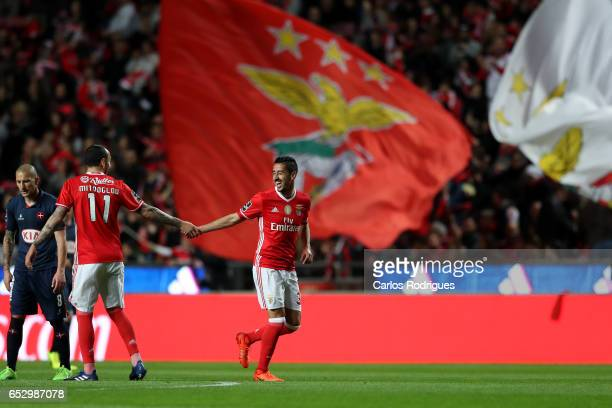 Benfica's defender Andre Almeida from Portugal celebrates scoring Benfica goal with Benfica's forward Kostas Mitroglou from Greece during the match...