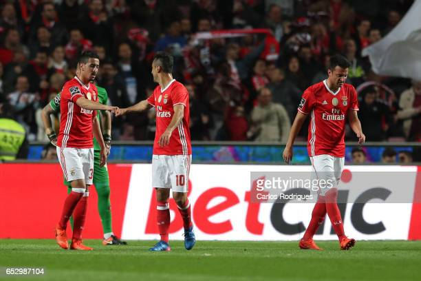 Benfica's defender Andre Almeida from Portugal celebrates scoring Benfica goal with Benfica's forward Jonas from Brasil during the match between SL...