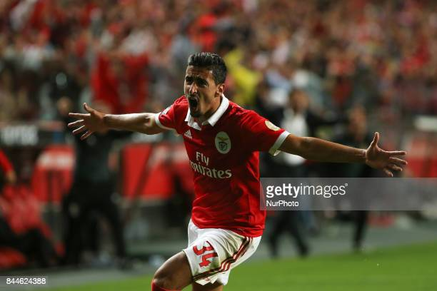 Benficas defender Andre Almeida from Portugal celebrating after scoring a goal during the Premier League 2017/18 match between SL Benfica v...