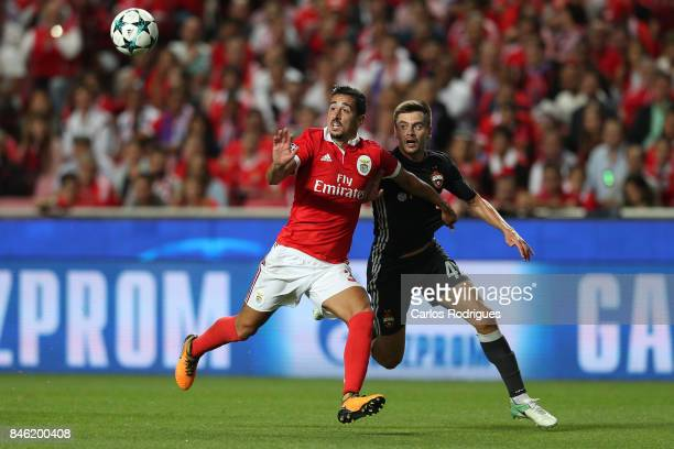 Benfica's defender Andre Almeida from Portugal vies with CSKA Moskva«s defender Georgi Schennikov from Russia for the ball possession during SL...