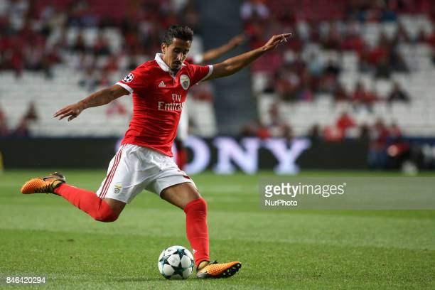 Benfica's defender Andre Almeida shoots the ball during the Champions League football match between SL Benfica and CSKA Moskva at Luz Stadium in...