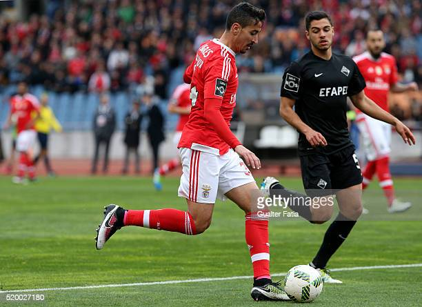 Benfica's defender Andre Almeida with A Academica de Coimbra's defender Rafa Soares in action during the Primeira Liga match between A Academica de...