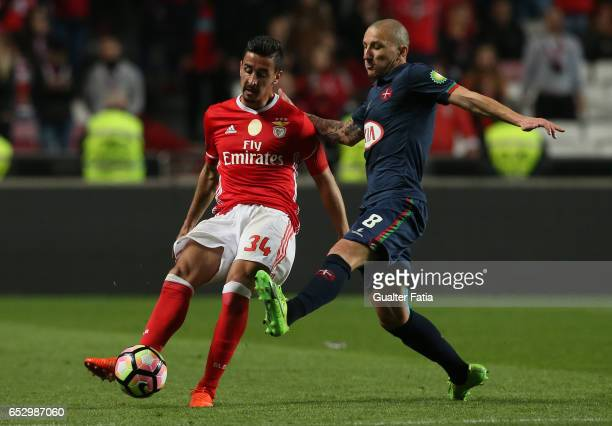 BenficaÕs defender Andre Almeida with Belenenses's midfielder Andre Sousa from Portugal in action during the Primeira Liga match between SL Benfica...