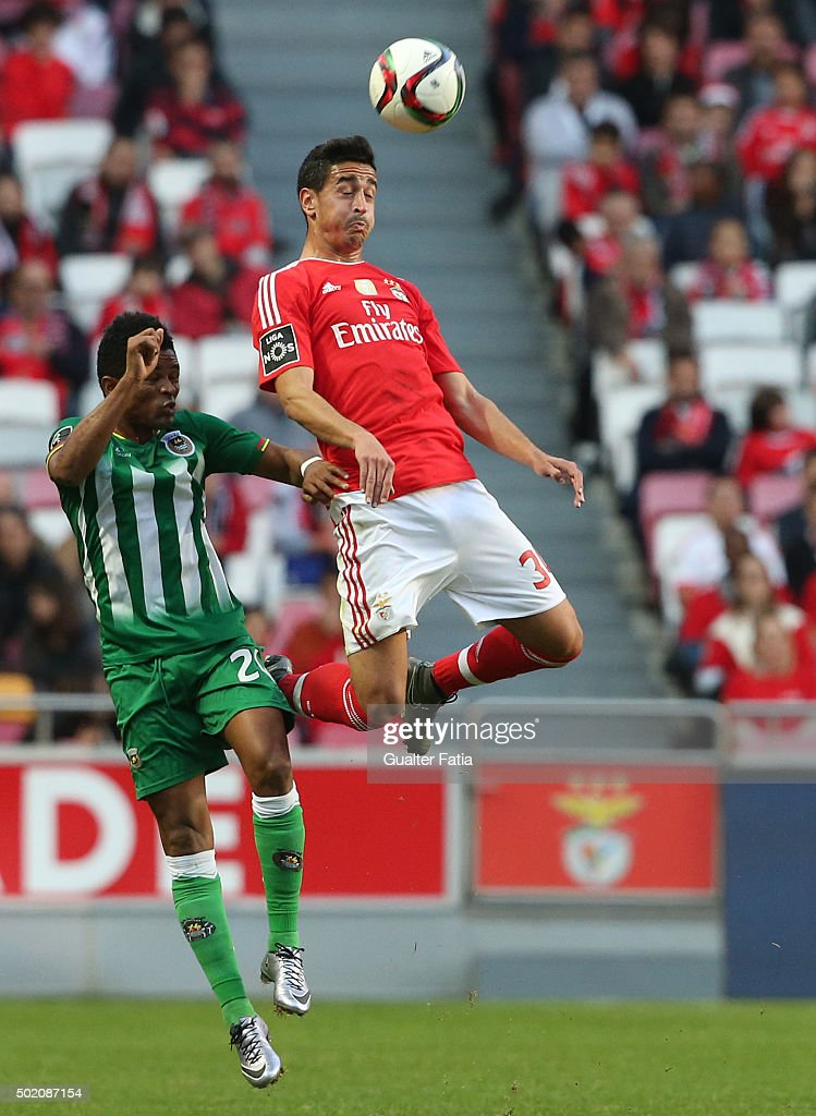 SL Benfica's defender Andre Almeida with Rio Ave FC's forward Heldon in action during the Primeira Liga match between SL Benfica and Rio Ave FC at Estadio da Luz on December 20, 2015 in Lisbon, Portugal.