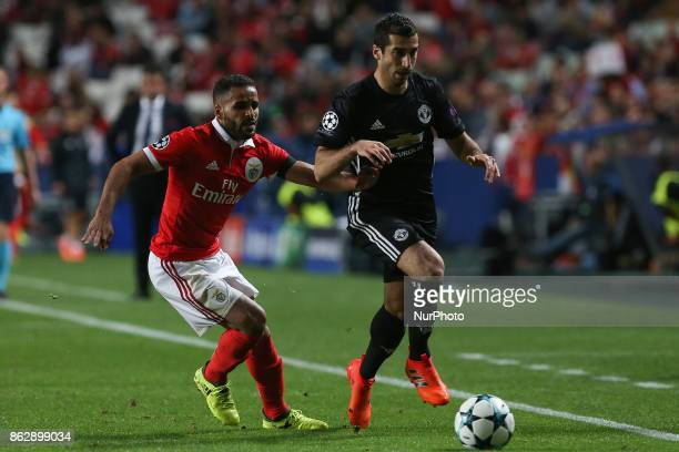 Benficas defender Douglas from Brazil and Manchester Uniteds midfielder Henrikh Mkhitaryan from Armenia during the match between SL Benfica v...
