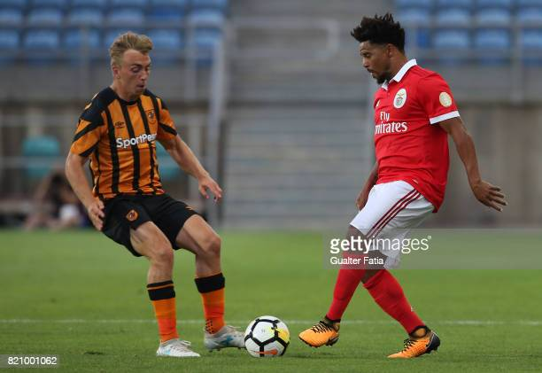 Benfica's defender Eliseu from Portugal with Hull City forward Jarrod Bowen in action during the Algarve Cup match between SL Benfica and Hull City...
