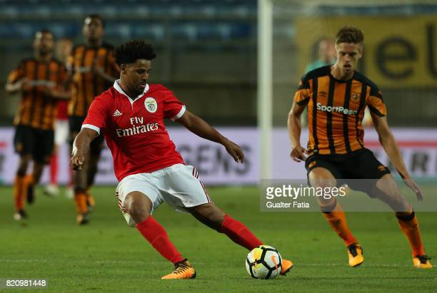 Benfica's defender Eliseu from Portugal with Hull City midfielder Markus Henriksen in action during the Algarve Cup match between SL Benfica and Hull...