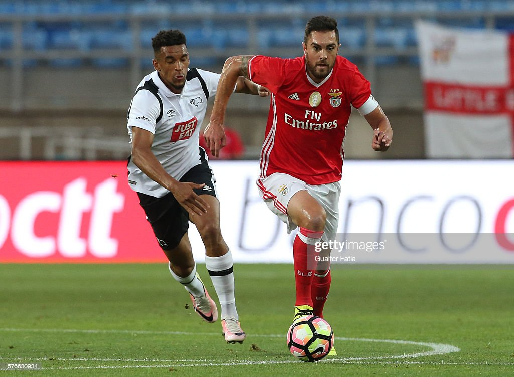 SL Benfica's defender from Brazil Jardel with Derby County's forward Blackman in action during the Algarve Football Cup Pre Season Friendly match between SL Benfica and Derby County at Estadio do Algarve on July 16, 2016 in Faro, Portugal.