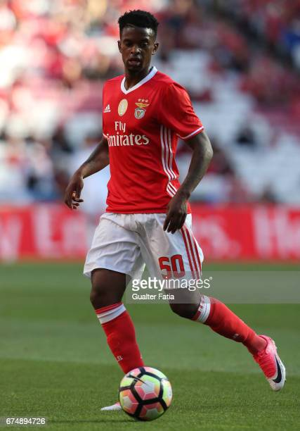 Benfica's defender from Portugal Nelson Semedo in action during the Primeira Liga match between SL Benfica and GD Estoril Praia at Estadio da Luz on...