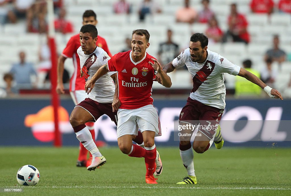 SL Benfica's defender from Spain Alex Grimaldo with Torino's midfielder Davide Zappacosta in action during the Eusebio Cup match between SL Benfica and Torino at Estadio da Luz on July 27, 2016 in Lisbon, Portugal.