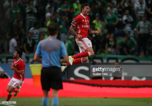 Benfica's defender from Sweden Victor Lindelof celebrates after scoring a goal during the Primeira Liga match between Sporting CP and SL Benfica at...
