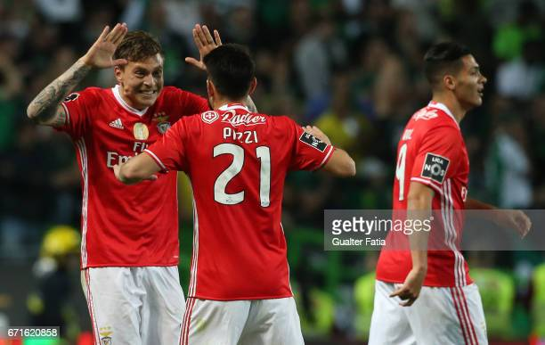 Benfica's defender from Sweden Victor Lindelof celebrates with teammate SL Benfica's midfielder from Portugal Pizzi after scoring a goal during the...