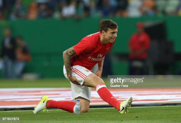 Benfica's defender from Sweden Victor Lindelof in action during warm up before the start of the Primeira Liga match between Sporting CP and SL...