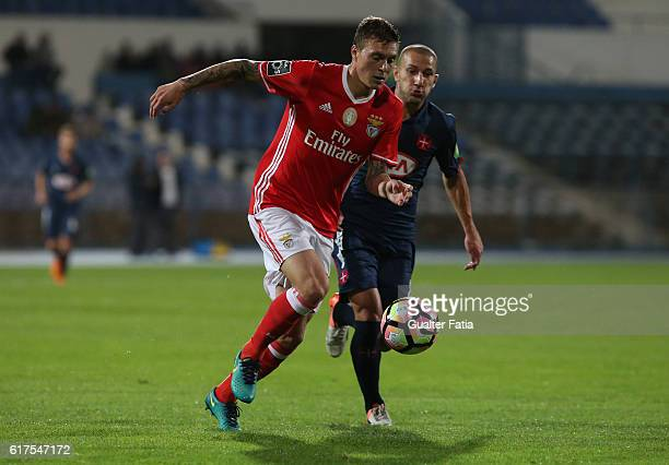 Benfica's defender from Sweden Victor Lindelof with Belenenses's midfielder Andre Sousa from Portugal in action during the Primeira Liga match...