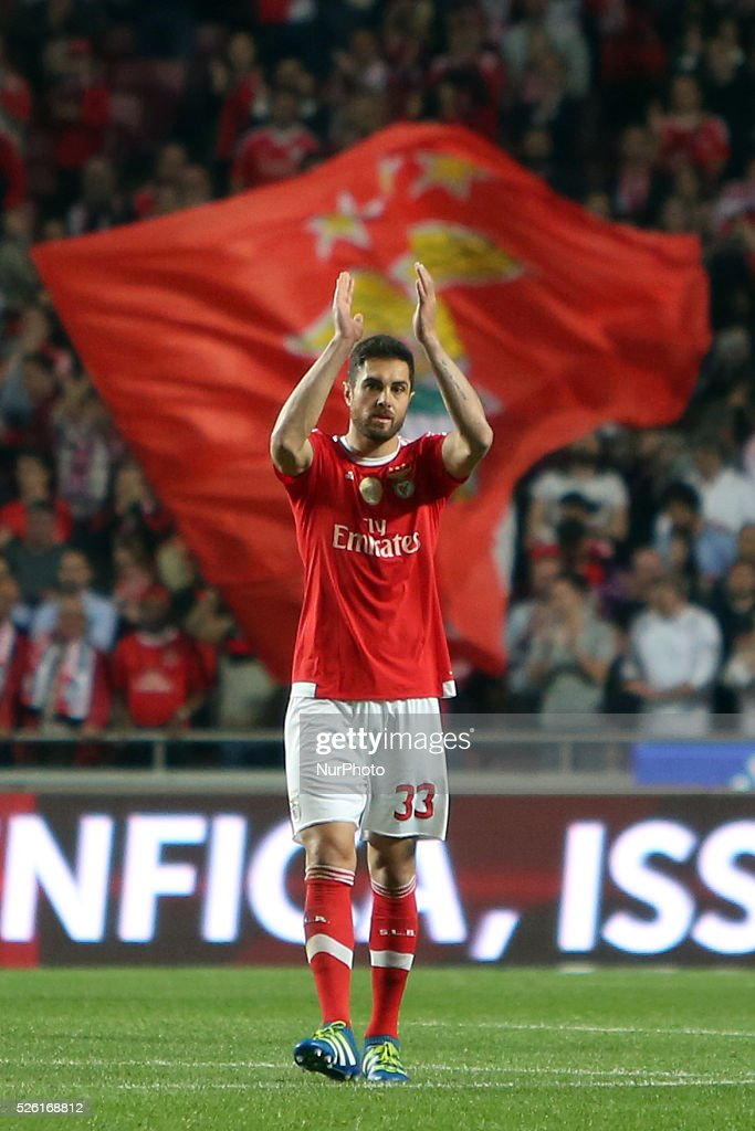 Benfica's defender <a gi-track='captionPersonalityLinkClicked' href=/galleries/search?phrase=Jardel+-+Soccer+Centre+Back+-+Born+1986&family=editorial&specificpeople=12802586 ng-click='$event.stopPropagation()'>Jardel</a> celebrates after scoring the victory goal at the end of the Portuguese League football match SL Benfica vs Vitoria Guimaraes SC at Luz stadium in Lisbon on April 29, 2016.