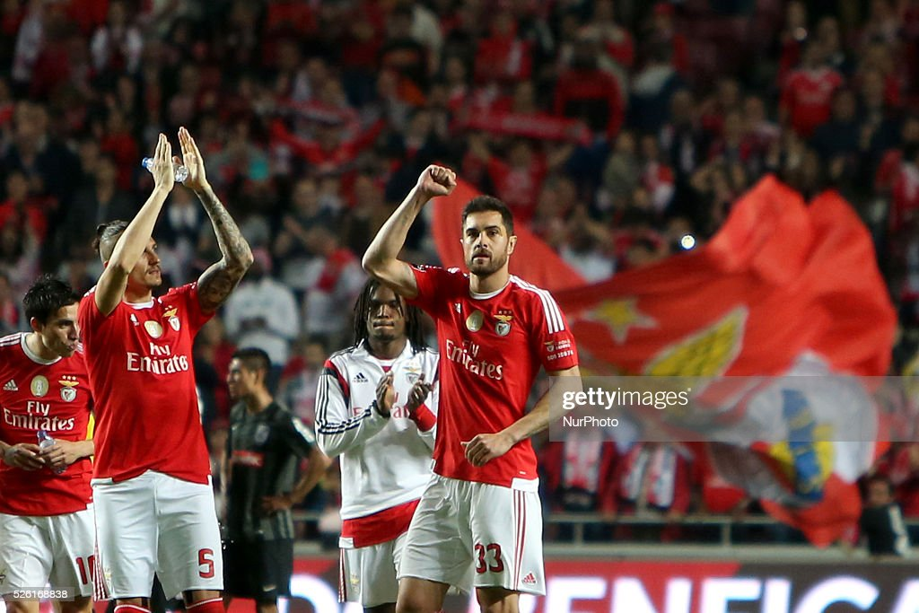 Benfica's defender <a gi-track='captionPersonalityLinkClicked' href=/galleries/search?phrase=Jardel+-+Soccer+Centre+Back+-+Born+1986&family=editorial&specificpeople=12802586 ng-click='$event.stopPropagation()'>Jardel</a> (R ) celebrates after scoring the victory goal at the end of the Portuguese League football match SL Benfica vs Vitoria Guimaraes SC at Luz stadium in Lisbon on April 29, 2016.