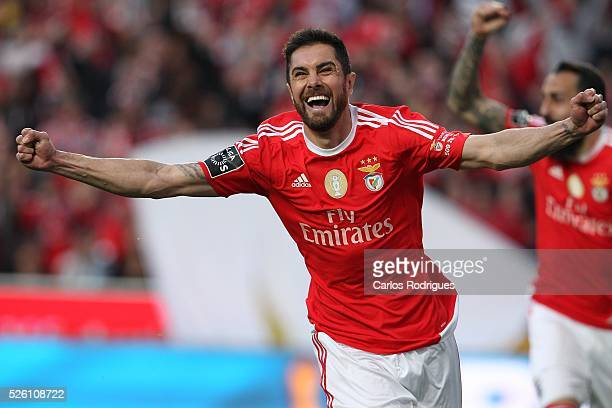 Benfica's defender Jardel Vieira celebrating scored Benfica's goal during the match between SL Benfica and Vitoria de Guimaraes for Portuguese...