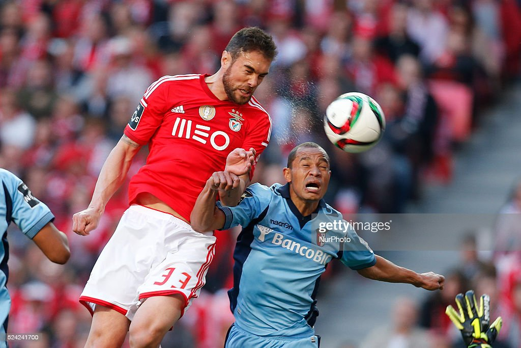 Benfica's defender Jardel Vieira heads for the ball with Braga's defender Baiano during the Portuguese League football match between SL Benfica and...