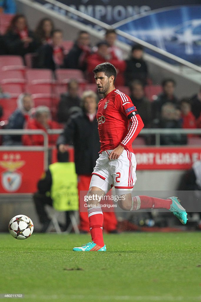 Benfica's defender <a gi-track='captionPersonalityLinkClicked' href=/galleries/search?phrase=Lisandro+Lopez&family=editorial&specificpeople=801562 ng-click='$event.stopPropagation()'>Lisandro Lopez</a> during the UEFA Champions League match between SL Benfica and Bayer 04 Leverkusen at the Estadio da Luz on December 9, 2014 in Lisbon, Portugal.