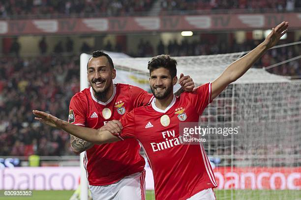 Benficas defender Lisandro Lopez from Argentina celebrants after scoring a goal during the Portuguese Cup 2016/17 match between SL Benfica v FC...