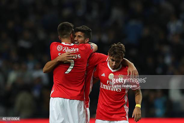 Benfica's defender Lisandro Lopez from Argentina celebrates scores Benfica«s goal with Benfica's midfielder Andreas Samaris from Greece and Benfica's...