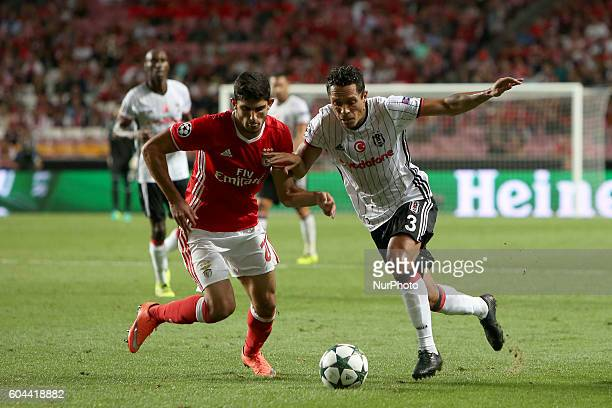 Benfica's defender Lisandro Lopez vies with Besiktas' forward Vincent Aboubakar during the UEFA Champions League Group B football match between SL...