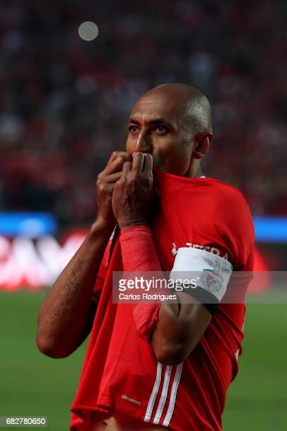 Benfica's defender Luisao from Brasil celebrating the tetra title with his team mates after the match between SL Benfica and Vitoria SC for the...
