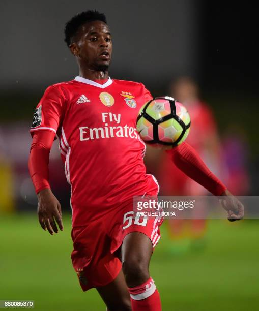Benfica's defender Nelson Semedo controls the ball during the Portuguese league football match Rio Ave FC vs SL Benfica at the Rio Ave FC stadium in...