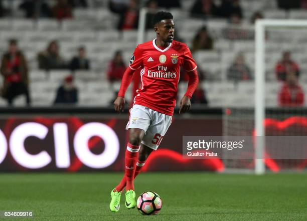 Benfica's defender Nelson Semedo in action during the Primeira Liga match between SL Benfica and FC Arouca at Estadio da Luz on February 10 2017 in...