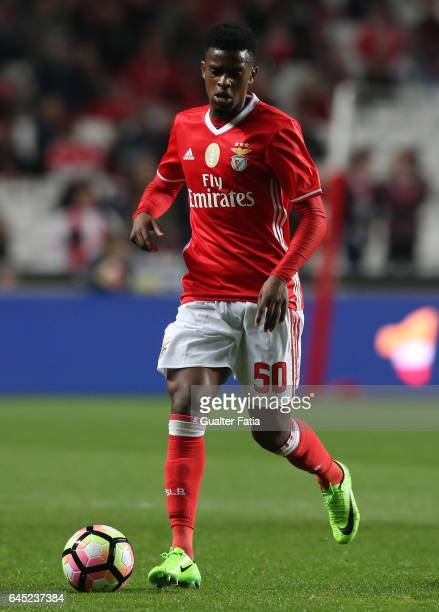 Benfica's defender Nelson Semedo in action during the Primeira Liga match between SL Benfica and GD Chaves at Estadio da Luz on February 24 2017 in...