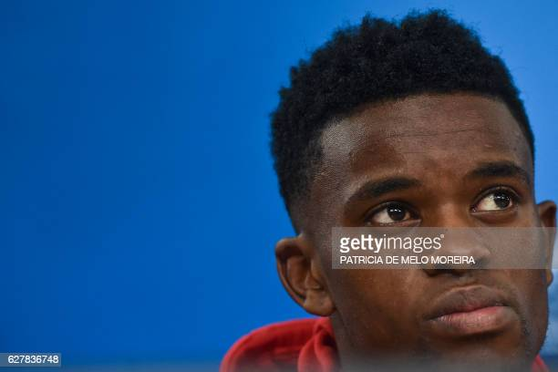 Benfica's defender Nelson Semedo looks on during a press conference at Luz stadium in Lisbon on December 5 on the eve of the UEFA Champions League...
