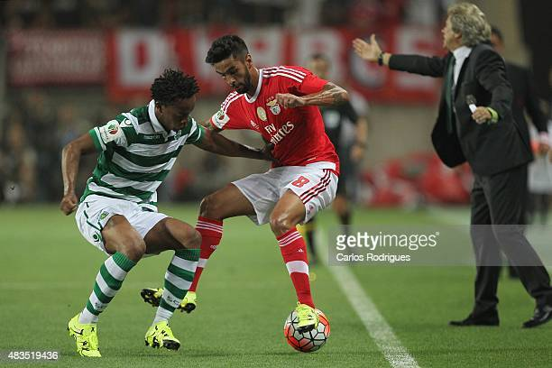 Benfica's defender Silvio vies with Sporting's forward Andre Carrillo during the Portuguese Super Cup match between SL Benfica and Sporting CP at...