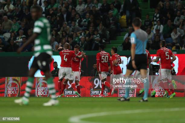 Benfica's defender Victor NilssonLindelof from Sweden celebrates scoring Benfica goal with his team mates during the Sporting CP v SL Benfica...