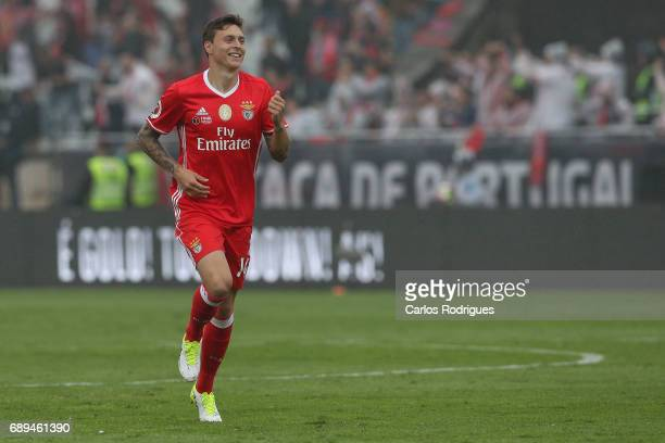 Benfica's defender Victor NilssonLindelof from Sweden celebrates Benfica second goal scored by Benfica's forward Eduardo Salvio from Argentina during...