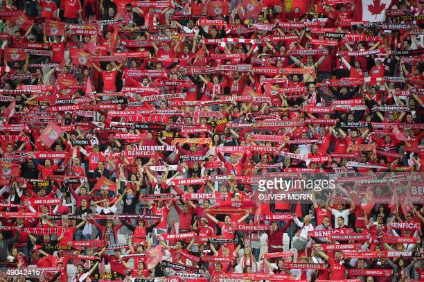 Benfica's fans cheer before the UEFA Europa league final football match between Benfica and Sevilla on May 14 2014 at the Juventus stadium in Turin...