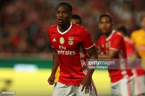 Benfica's forward Andre Carrillo from Paraguay during the match between SL Benfica and Estoril Praia SAD for the Portuguese Cup semi finals second...