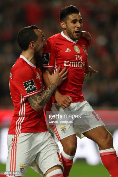 Benfica's forward Eduardo Salvio from Argentina with Kostas Mitroglou celebrates scoring Benfica third goal during the match between SL Benfica and...