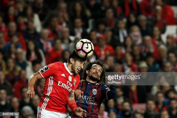 Benfica's forward Eduardo Salvio heads for the ball with with Chaves's midfielder Fabio Martins during Premier League 2016/17 match between SL...