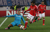 Benfica's forward Eduardo Salvio with FC Zenit's defender Criscito in action during the UEFA Champions League match between FC Zenit and SL Benfica...