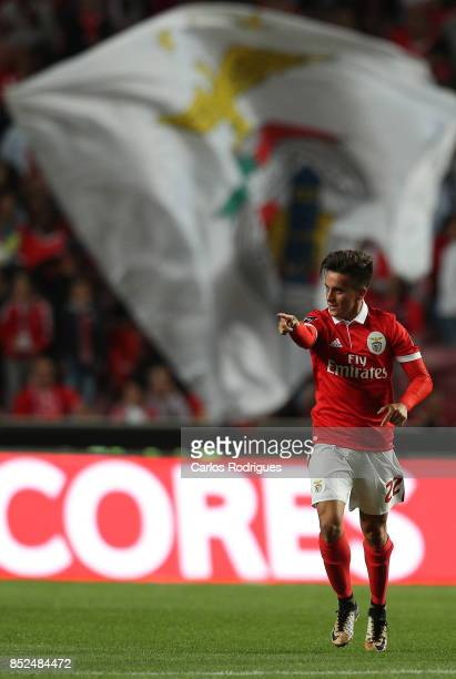 Benfica's forward Franco Cervi from Argentina celebrates scoring Benfica goal during the match between SL Benfica and FC Paco de Ferreira for the...