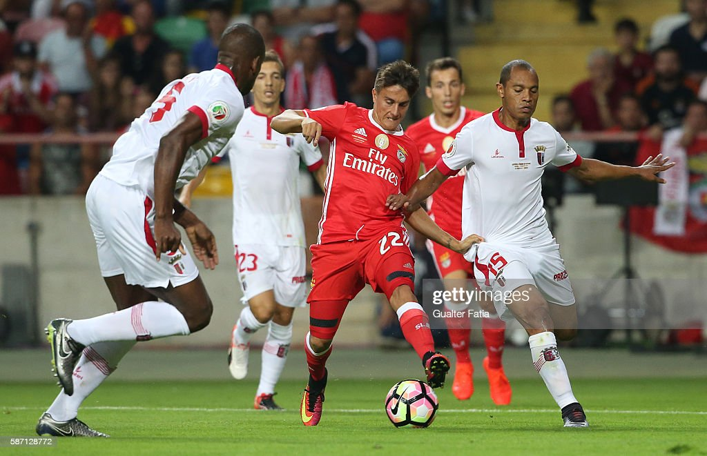 Benfica's forward from Argentina Franco Cervi with SC Braga's Brazilian defender Baiano in action during the Super Cup match between SL Benfica and...