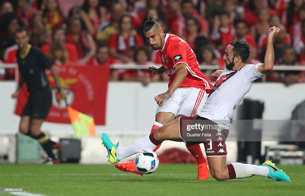 SL Benfica's forward from Argentina Oscar Benitez with Torino's midfielder Davide Zappacosta in action during the Eusebio Cup match between SL Benfica and Torino at Estadio da Luz on July 27, 2016 in Lisbon, Portugal.