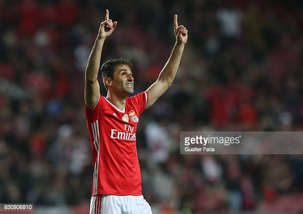 Benfica's forward from Brazil Jonas celebrates after scoring a goal during the Primeira Liga match between SL Benfica and FC Vizela at Estadio da Luz...