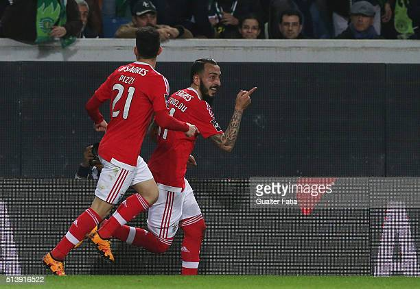 BenficaÕs forward from Greece Kostas Mitroglou celebrates after scoring a goal during the Primeira Liga match between Sporting CP and SL Benfica at...